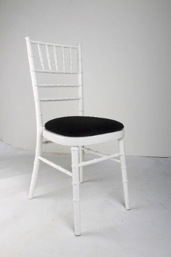 White Chair with Black Seat For Hire Herts Beds and Bucks