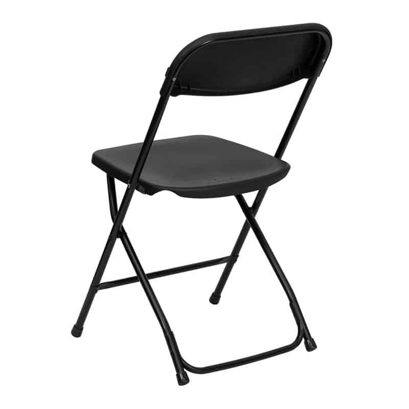 Plastic Black Fold Up Chair For Hire Herts Beds and Bucks