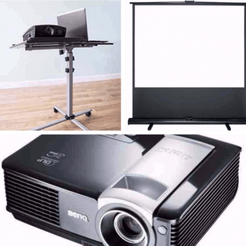 100′ Projector Screen, HD Projector & Stand – Combo Deal