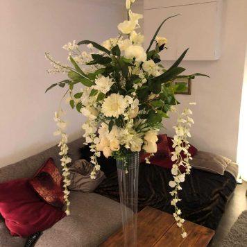 Tall White Floral Centrepiece Hire Hertfordshire
