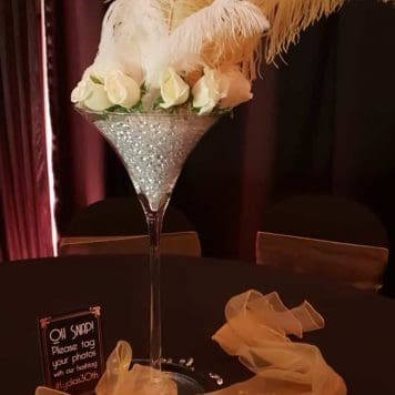 Feather and Flower Rose Martini Glass Centrepiece Hire Hertfordshire