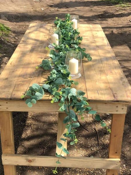 Artificial Eucalyptus Table Runner Vintage Wooden Trestle Table Hire Hertfordshire