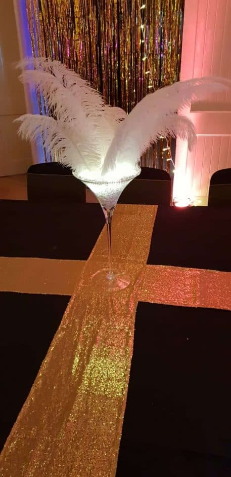 Gold Sequin Table Runner Hire Hertfordshire