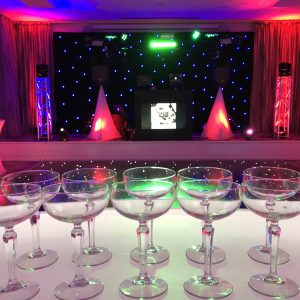 champagne saucer uplight stage dj hire hertfordshire