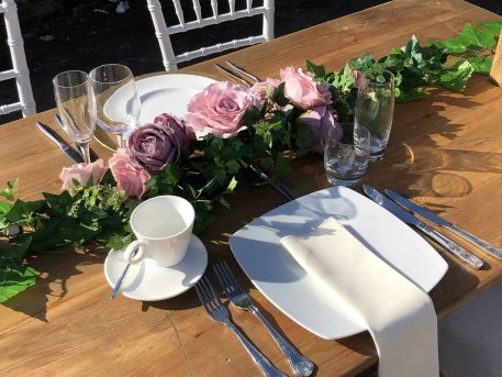 Rustic Wooden Trestle Table Eucalyptus Rose Garland Hire Hertfordshire