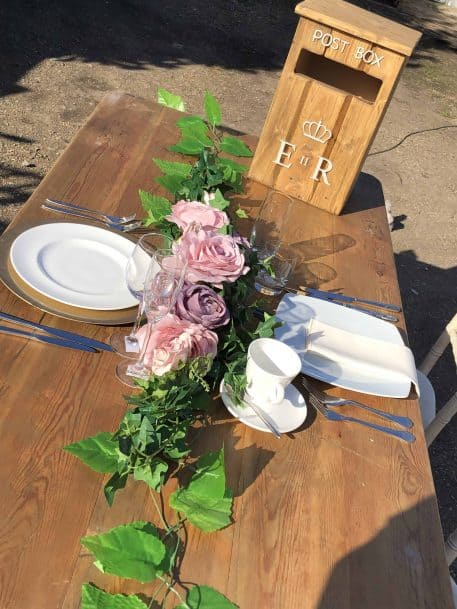 Rustic Wooden Trestle Table Eucalyptus Rose Garland Rustic Postbox Hire Hertfordshire