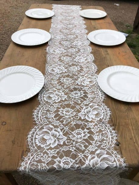 Vintage Lace Table Runner Rustic Trestle Table Hire Hertfordshire
