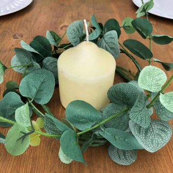 Small Eucalyptus Wreath Pilar Candle Table Centre Decor Hire Hertfordshire