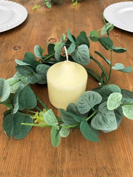Small Eucalyptus Wreath Pilar Candle Table Centre Decor Hire Hertfordshire