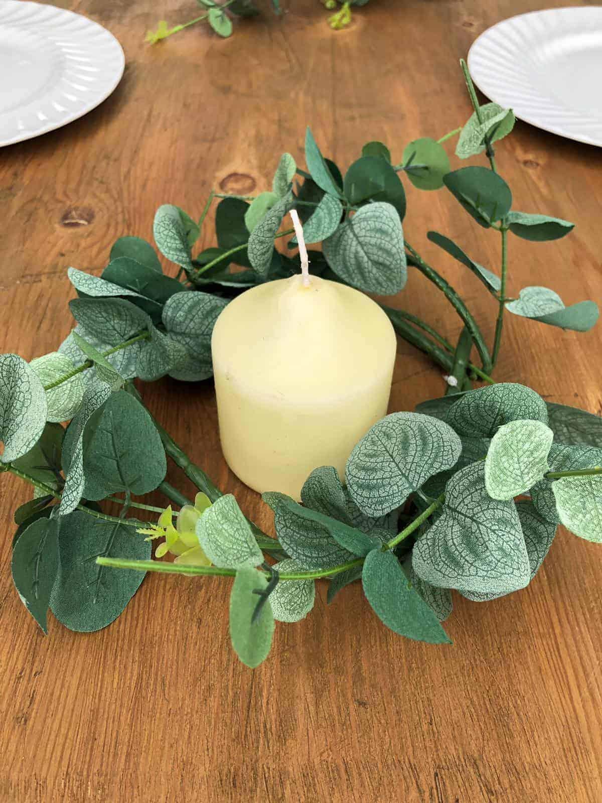 Small Eucalyptus Wreath Pilar Candle Centrepiece