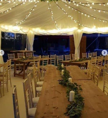 EXTRA WIDE RUST TABLE HIRE FOR MARQUEES